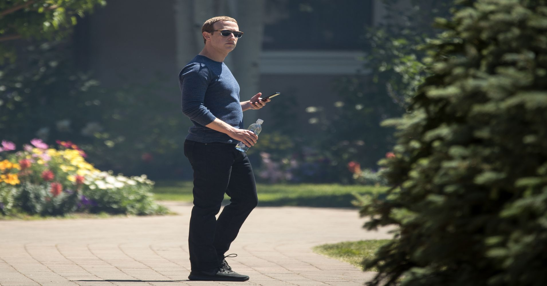 Mark Zuckerberg, chief executive officer of Facebook, attends the annual Allen & Company Sun Valley Conference, July 13, 2018 in Sun Valley, Idaho.