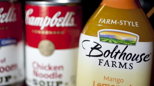 Campbell Soup Co. soup cans and Bolthouse Farms juices are arranged for a photograph in Washington, D.C.