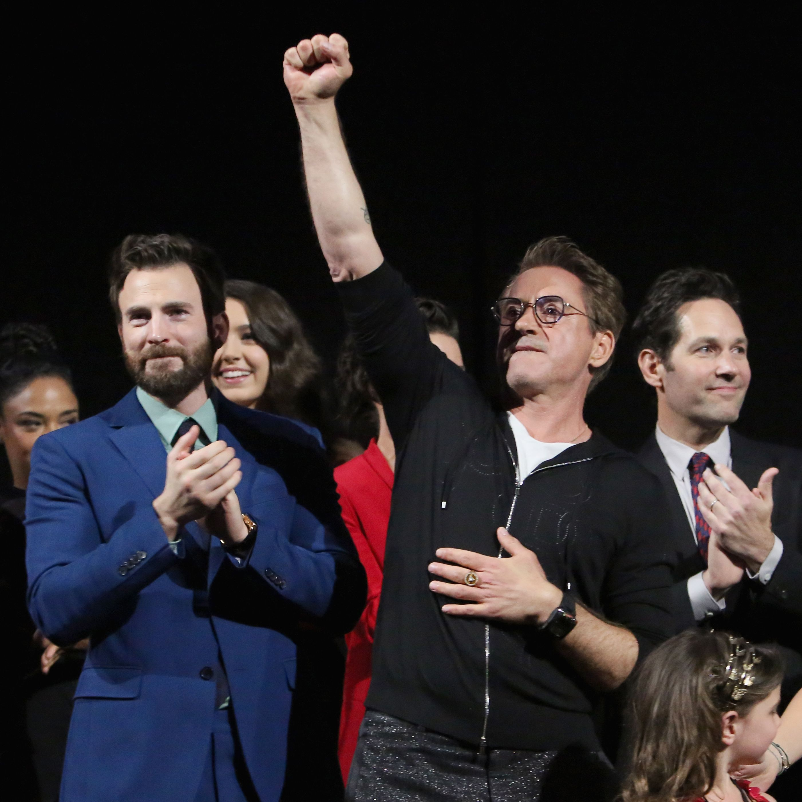 (L-R) Chris Evans and Robert Downey Jr. speak onstage during the Los Angeles World Premiere of Marvel Studios' 'Avengers: Endgame' at the Los Angeles Convention Center on April 23, 2019 in Los Angeles, California.