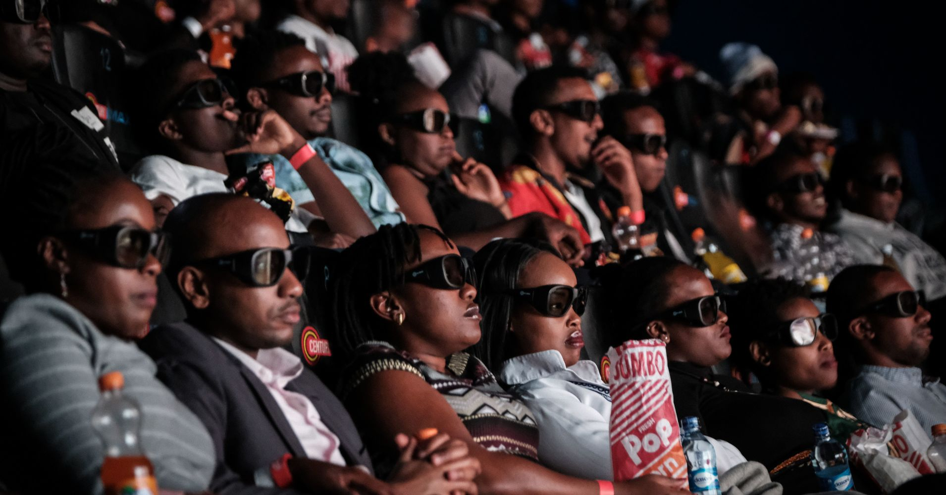 "Invited guests watch the film ""Black Panther"" in 3D which featuring Oscar-winning Mexico born Kenyan actress Lupita Nyongo during Movie Jabbers Black Panther Cosplay Screening in Nairobi, Kenya, on February 14, 2018."