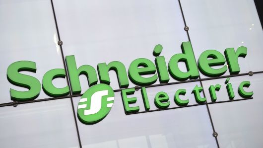 The logo of electricity distribution and energy management group Schneider Electric is pictured on Sept 4, 2014 at the company