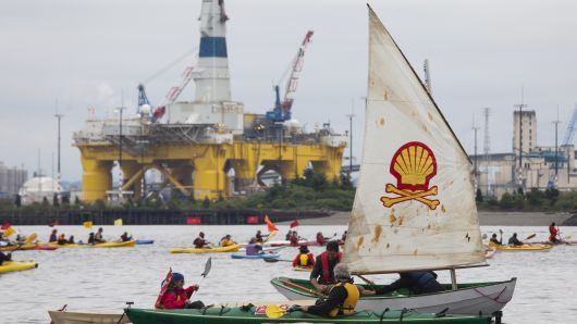 ShellNo flotilla participants float near the Polar Pioneer oil drilling rig during demonstrations against Royal Dutch Shell on May 16, 2015 in Seattle, Washington.