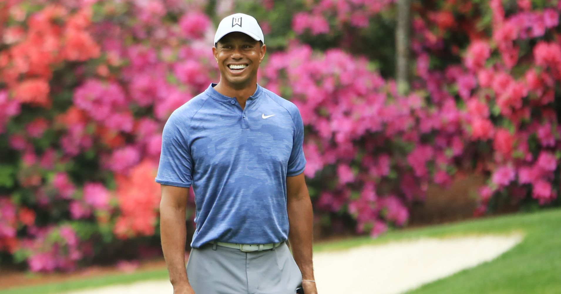 Tiger Woods during a practice round prior to The Masters at Augusta National Golf Club on April 08, 2019