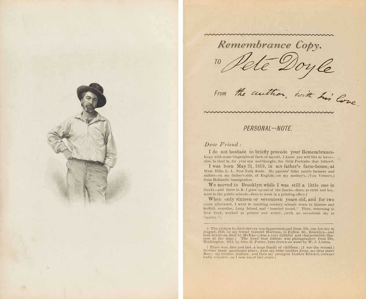 Walt Whitman, Memoranda During the War, remembrance copy, inscribed to Peter Doyle, from 'the author with his love,' 1875-76, sold for $70,000.