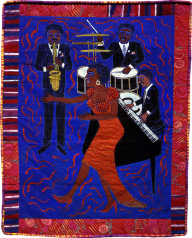 Faith Ringgold, 'Jazz Stories: Mama Can Sing, Papa Can Blow #6: I'm Leavin in the Mornin,' 2004, acrylic on canvas with pieced fabric border.