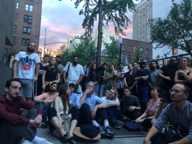 A crowd gathered outside the Met Breuer to honor the late David Berman.