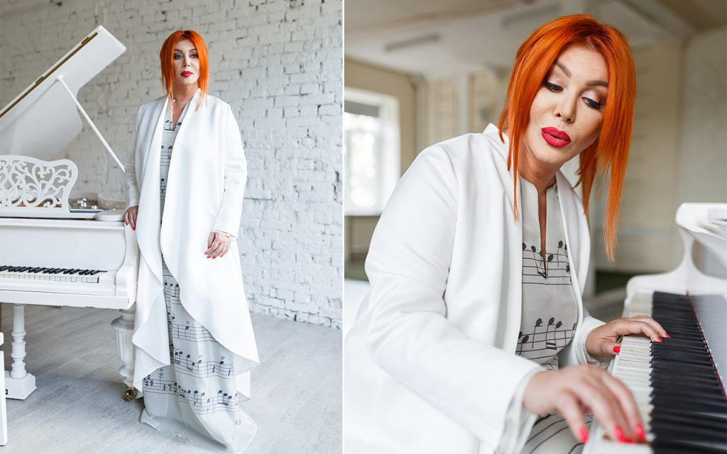 Iryna Bilyk, a Ukrainian show-business star, wearing an exclusive dress by Elvira Gavrilova