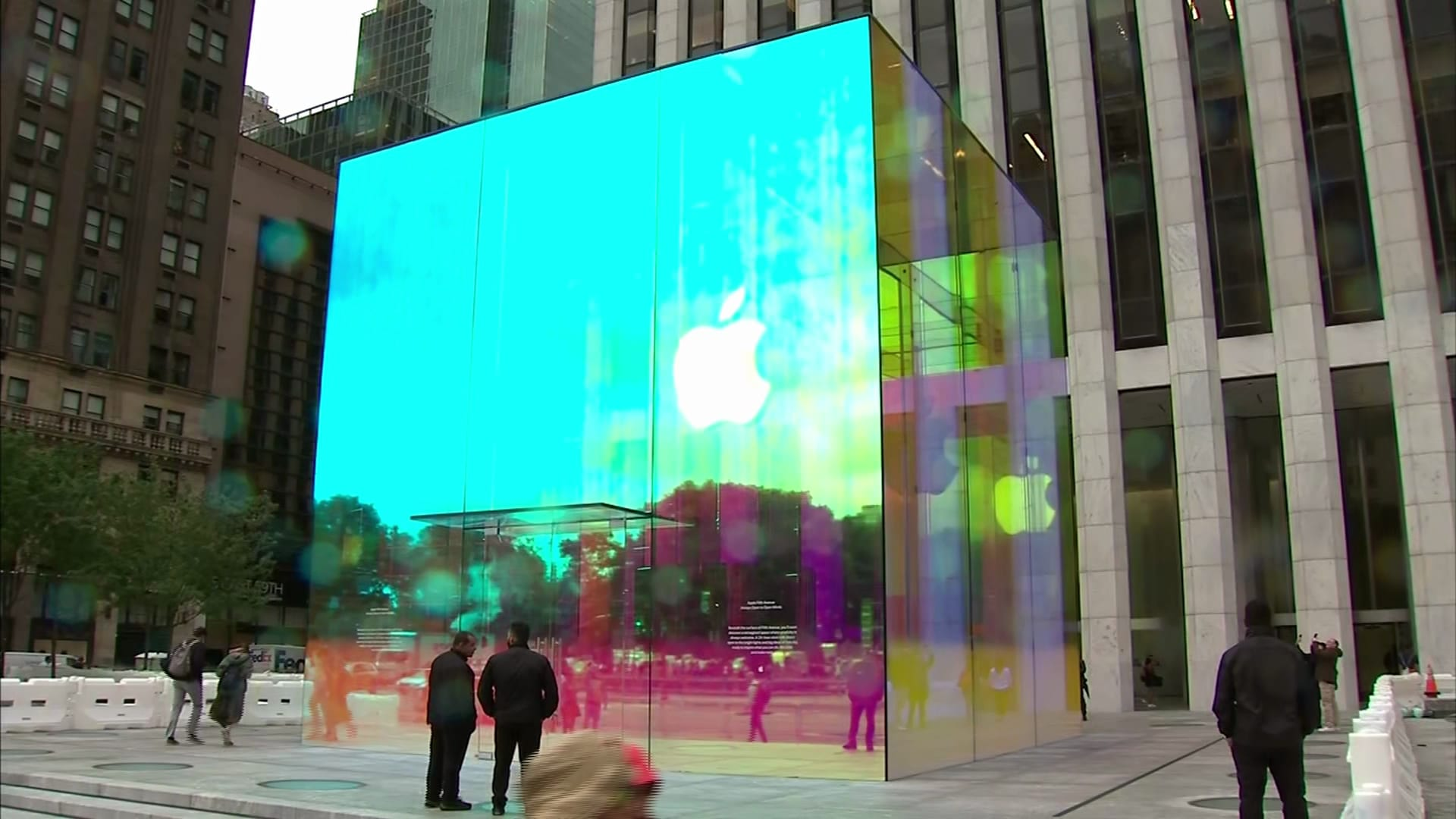 Apple New York flagship store renovated as rainbow cube