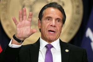 New York Gov. Andrew Cuomo holds a press briefing on Covid