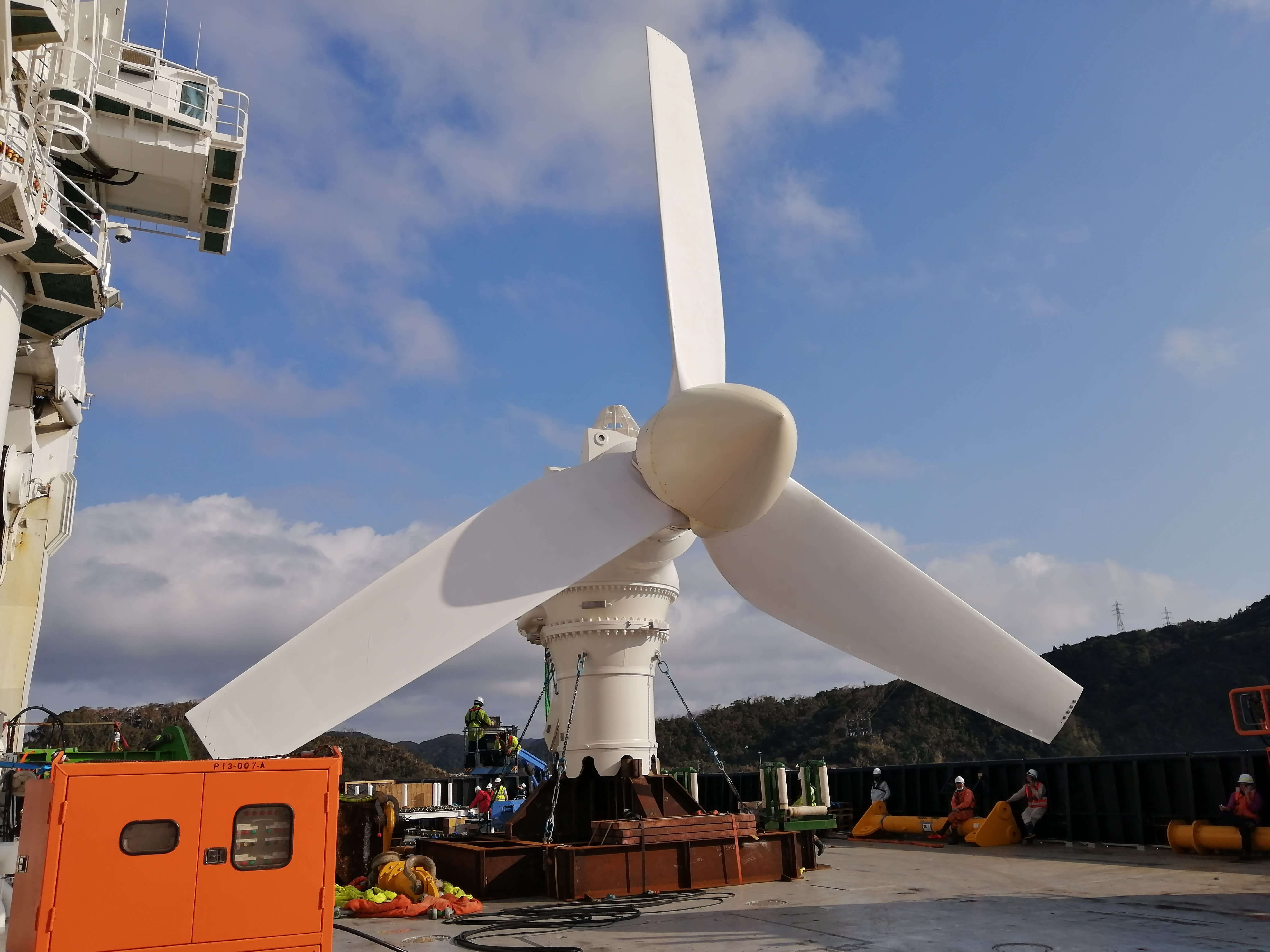 A tidal turbine built in Scotland is now producing power in Japan
