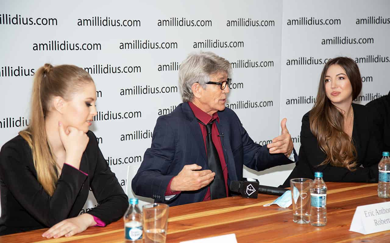 """Elvira Gavrilova and Eric Roberts at the press conference of the film """"The Incident at Wall Street Hotel"""""""